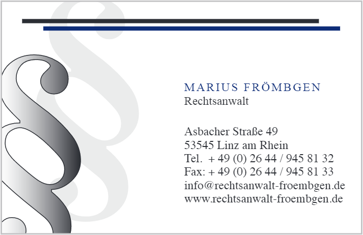 Sponsor Rechtsanwalt Marius Frömbgen