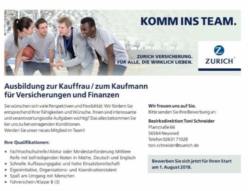 Zurich Versicherung sucht neue(n) Auszubildende(n)