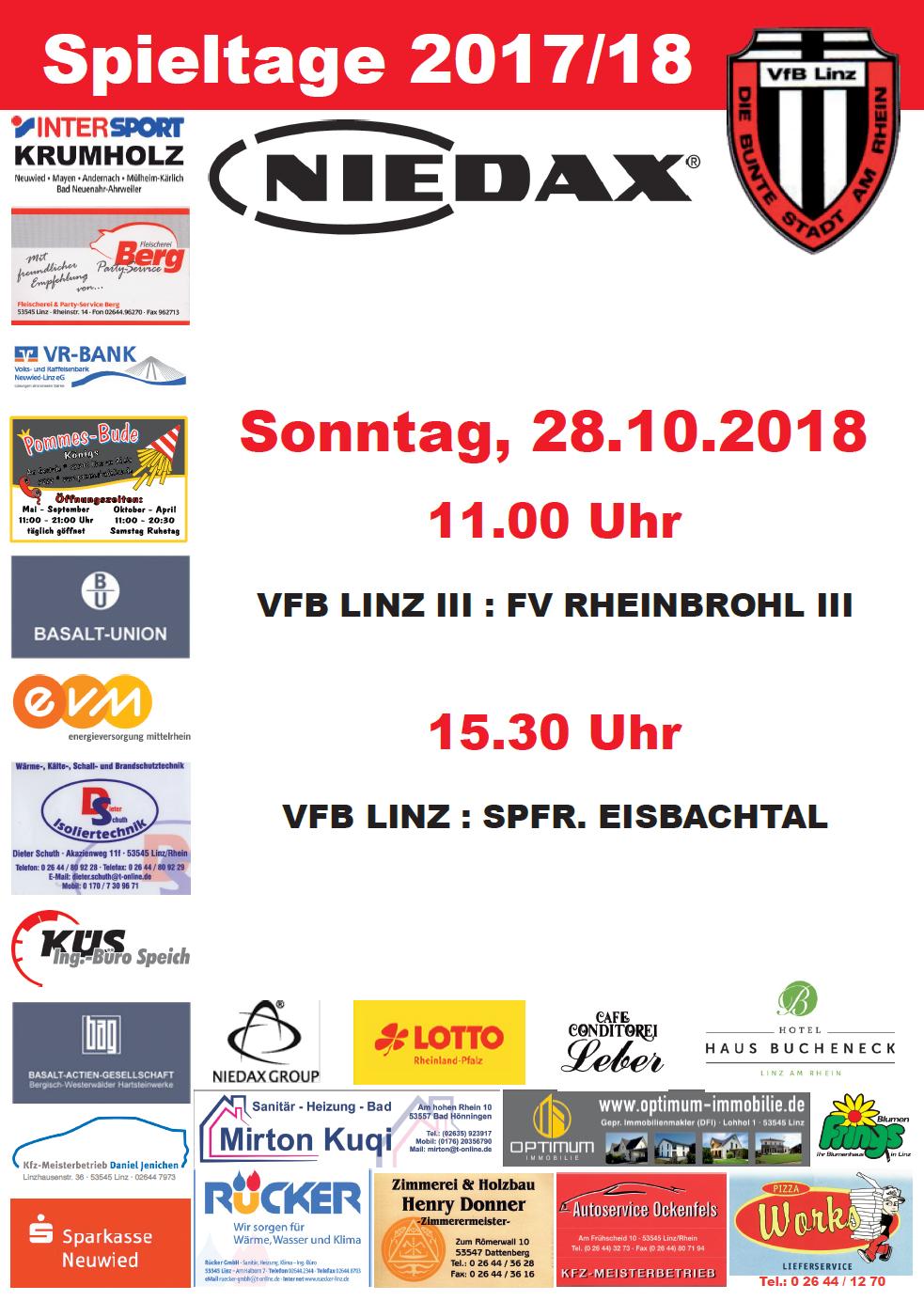 Aktuelles Spieltagplakat des VfB Linz