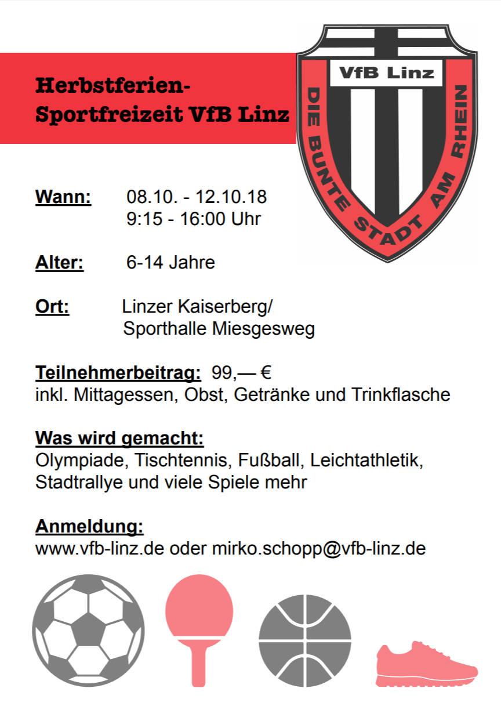 Ferien- und Sportfreizeit des VfB Linz im Herbst 2018